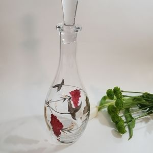 Glass Lidded Decanter with Grapes Design, Bohemian